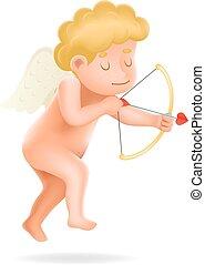 chłopiec, ilustrator, anioł, litera, odizolowany, 3d, realistyczny, wektor, projektować, dziecko, niemowlę, cherubin, rysunek, ikona