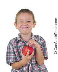 chłopiec, jabłko