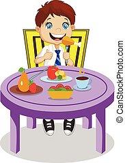 chłopiec, jeść, eating., uśmiechanie się, mąka, rysunek, uczeń