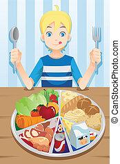 chłopiec, jedzenie