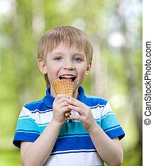 chłopiec, jedzenie outdoors, lód, smakowity, dziecko, śmietanka