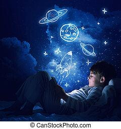 chłopiec, jego, łóżko, tabliczka