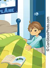 chłopiec, jego, łóżko zrobienie