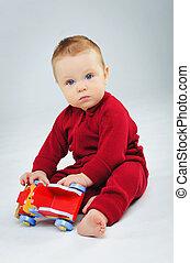 chłopiec, jego, plaing, wóz, zabawka, niemowlę