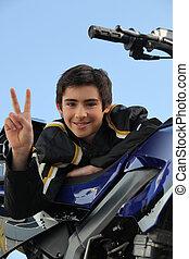 chłopiec, jego, stał, nastolatek, motocykl