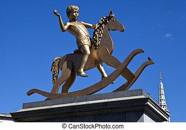 chłopiec, koń, skwer, statua, trafalgar, kołysanie