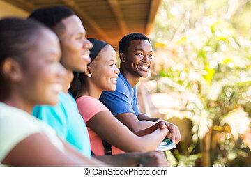 chłopiec, kolegium, przyjaciele, młody, afrykanin