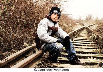 chłopiec, koleje żelazne, młody, posiedzenie