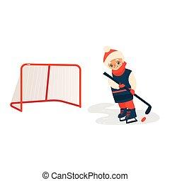 chłopiec, krążek, hokej, przód, wtykać, interpretacja, prospekt