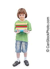 chłopiec, książki, barwny
