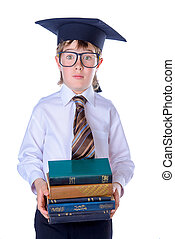 chłopiec, książki, student