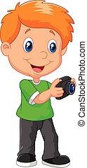 chłopiec, mały, aparat fotograficzny, rysunek, dzierżawa