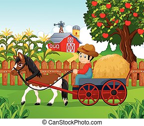 chłopiec, mały, carr, koń, jazda, rysunek