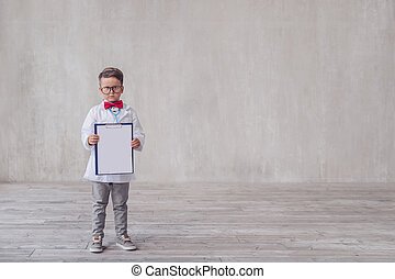 chłopiec, mały, clipboard