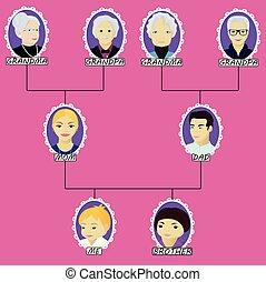 chłopiec, mały, drzewo genealogiczne, brat, rysunek