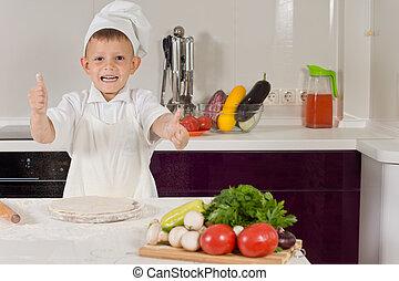 chłopiec, mały, gotowanie, do góry, kciuki, podniecony, pizza