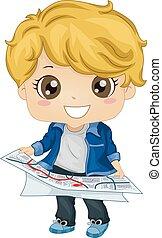 chłopiec, mały, ilustracja, kierunki, czytanie, geografia