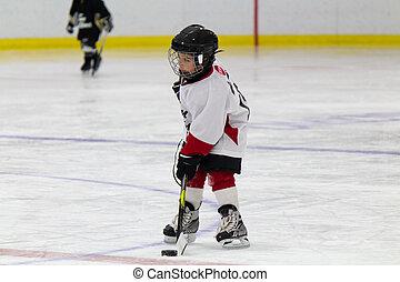 chłopiec, mały, interpretacja, lód hokej