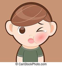 chłopiec, mały, rysunek, ból zębów