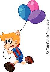 chłopiec, mały, rysunek, dzierżawa, balloon