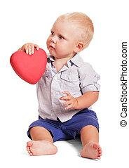 chłopiec, mały, samica, posiedzenie, isolated., ręka, serce, dzierżawa, czerwony
