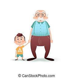 chłopiec, mały, stary, illustration., wnuk, concept., dziadek, wektor, dzierżawa, rodzina, człowiek, rysunek, hands., szczęśliwy