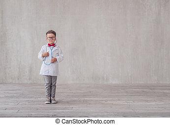 chłopiec, mały, stetoskop