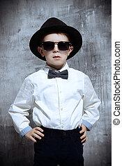 chłopiec, mały, sunglasses
