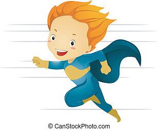 chłopiec, mały, superhero, mocny, wyścigi, koźlę