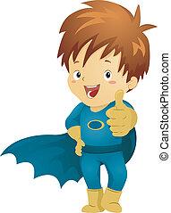 chłopiec, mały, superhero, znak, zrobienie, ok, koźlę