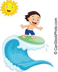 chłopiec, mały, surfing, szczęśliwy