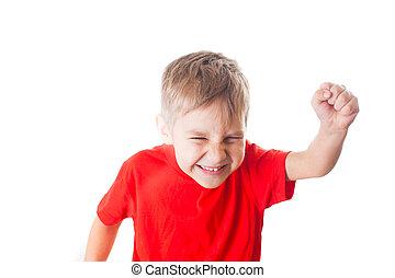 chłopiec, mały, triumfując, ręka najeżyła się, szczęśliwy