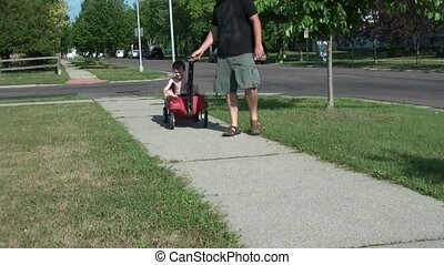 chłopiec, mały, wóz, istota, ciągnięty, czerwony