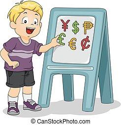 chłopiec, mały, waluty, identyfikować, ilustracja, magn, używając