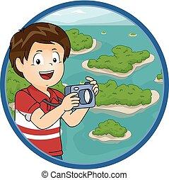 chłopiec, mały, wpływy, rozsiadły, ilustracja, fotografie, wyspy