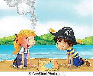 chłopiec, mapa, dziewczyna, badając