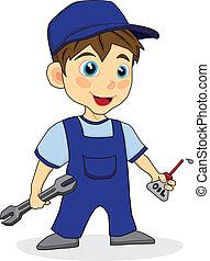 chłopiec, mechanik, sprytny