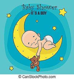 chłopiec, miś, księżyc, niemowlę, spanie