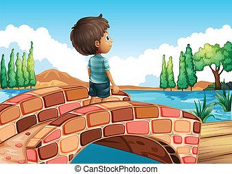 chłopiec, most