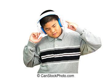 chłopiec, music., uważnie, słucha