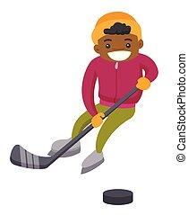 chłopiec, na wolnym powietrzu, rink., hokej, afrykanin, interpretacja