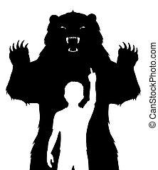 chłopiec, niedźwiedź