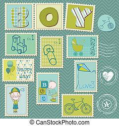 chłopiec niemowlęcia, pieczęcie, opłata pocztowa