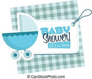 chłopiec niemowlęcia, spacerowicz, karta, zaproszenie