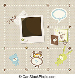 chłopiec niemowlęcia, ułożyć, karta, fotografia