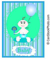 chłopiec niemowlęcia, wektor, karta