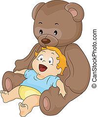 chłopiec niemowlęcia, z, cielna, zabawka, niedźwiedź