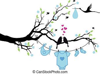 chłopiec niemowlęcia, z, ptaszki, na, drzewo, wektor