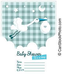 chłopiec niemowlęcia, zaproszenie, bocian
