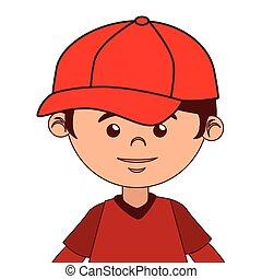 chłopiec, nietoperz, baseball, rysunek, odizolowany